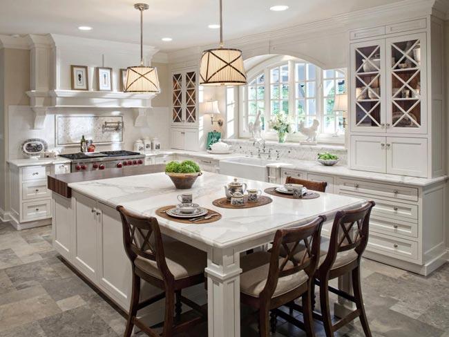 Kitchen sland table - نکاتی در مورد دکوراسیون اتاق نشیمنِ دارای پلانِ باز